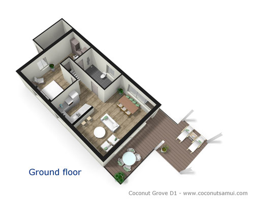 Room layout illustration of the ground floor