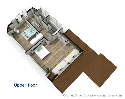 Room layout illustration of the upper floor