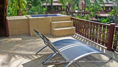 Private Jacuzzi and sun loungers on the balcony.